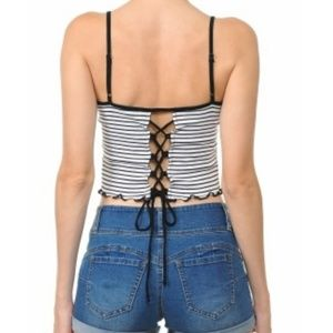 Ambiance Tops - AMBIANCE | BACK LACE-UP STRIPED CROP CAMI TOP